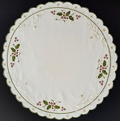 Linen Holly and Berries Gold Stars 2494 18 inch round * Check out this great product.