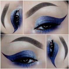 How stunning is this silver and blue carved out cat eye?! By _claudiayvette on instagram. #makeup #beauty #makeuplook #smokeyeyes