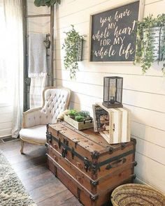 ✔ 78 rustic farmhouse living room design and decor ideas for your home 33 Farmhouse Style Kitchen, Country Farmhouse Decor, Farmhouse Ideas, Rustic Decor, Vintage Decor, Vintage Farmhouse Decor, Cottage Farmhouse, Farmhouse Interior, Farmhouse Living Rooms