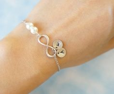 Infinity Bracelet with Pearls and Two Initial Charms. Bridesmaid Gift. Everyday Bracelet. Girlfriend Gift. Birthday Gift.  by PinkforYou, $21.00