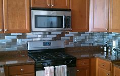 2 1/4 x 8 Brushed Stainless Steel Tiles (Horizontal Grain), 2 1/4 x 8 Brushed Stainless Steel Tiles (Vertical Grain)
