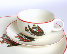 """Rare Vintage Crooksville """"Scotch Plaid"""" Dinnerware Service for 4 are  an unusual take on holiday dishes"""