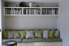 This modern reading nook uses a combination of patterns and textures to create an inviting look. All pillows and cushions were created using design center fabrics from FabricSeen.   Although most of these popular fabrics have sold out, Wavy Shag Linen is still available. Follow the link to order a #FreeSample