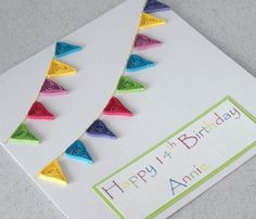 Quilled bunting birthday card personalized by PaperDaisyCardDesign, £6.20
