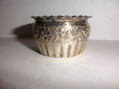 a antique gorham sterling silver repousse floral open salt cellar