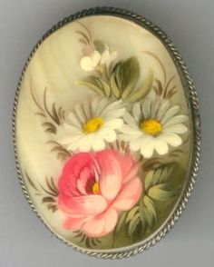 Vintage FEDOSKINO Hand Painted Flowers on Mother-of-Pearl Brooch Pin