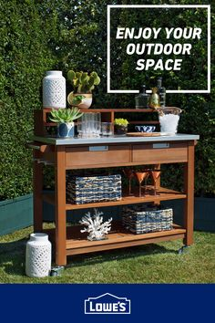 Making outdoor serving easy with stylish bar carts.