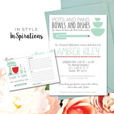 items similar to you print personalized digital file bridal shower invitation and recipe card kitchen wishes mint green and red on etsy pampered chef