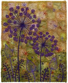 "Alliums Silhouette. Moody, murky background. machine stitched with hand embroidered French knots. 5 ½ x 7in <a href=""http://www.chursinoff.com/kirsten/"" target=""_blank"">www.chursinoff.co...</a>"