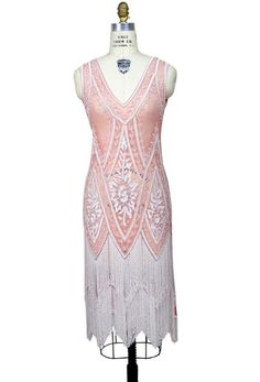 2ff3de4bcb27e 1920's Vintage Flapper Beaded Fringe Gatsby Gown - The Icon - Rouge Creme