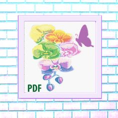 Butterfly Modern Cross Stitch Pattern, rainbow watercolor, flowers, needlepoint-DIY, insect, nature, embroidery, Instant download PDF Sugar Skull Halloween, Bird Skull, Modern Cross Stitch Patterns, Colorful Pictures, Watercolor Flowers, Cross Stitching, Needlepoint, Pdf, Butterfly