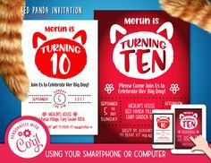 Red Panda Invitation Font Editable Template Instant Download Digital File by clipartsuperstore on Etsy Digital Stamps, Digital Scrapbooking, Silhouette Cameo Free, Edit Font, Invitation Fonts, Red Panda, Party Items, Embroidery Kits, Rsvp