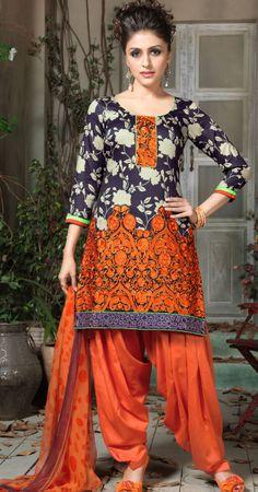 Black Orange Cotton #Designer #Salwar Kameez | @ $66.72