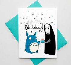 Totoro And No Face Studio Ghibli Happy Birthday by TurtlesSoup