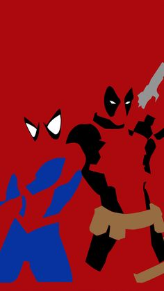 Spider-man and deadpool, superheroes, minimalism, 720x1280 wallpaper