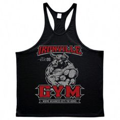 af0a6e7cb38c1 Ironville Gym Bull Horns Powerlifting Stringer Tank Top