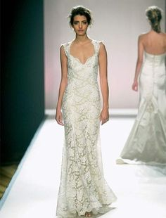 Bridal Gowns: Monique Lhuillier Sheath Wedding Dress with V-Neck Neckline and No Waist/Princess Seams Waistline