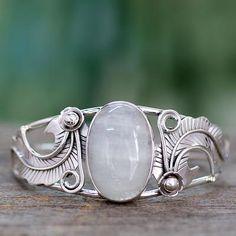 Moonstone Cuff Bracelet in Sterling Silver Handmade in India - Eternal Glow   NOVICA