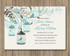 Baby Blue Baby Shower Invitation Flowers  by TracyAnnPrintables