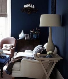 i don't like any of this decor, but goodness that's a lovely wall.  deep navy is so cozy.