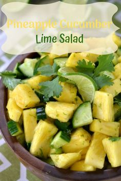This refreshing Pineapple Cucumber Salad is ideal side that goes so well with any dinner or BBQ. It's packed with vitamins and so much crunchiness. It's HEALTHY, all natural and super easy to make! Great for potluck, parties and picnics.