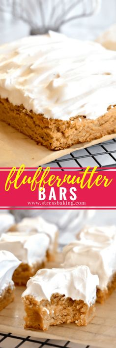 Fluffernutter Bars: Perfectly chewy peanut butter blondies are topped with sky-high, homemade marshmallow fluff!   stressbaking.com @stressbaking #stressbaking #fluffernutter #peanutbutter #blondies #fluff #bars #chewy #dessert