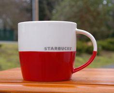Starbucks Coffee Company 2011 New Bone China Red Dipped Glaze & White Mug  | eBay