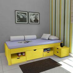Cama Solteiro com Criado-mudo Euro Amarelo Laca - Euromóvel