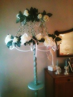 Shabby Chic Lamp with white roses and ribbons.