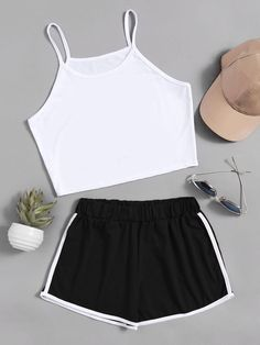 ROMWE - ROMWE Crop Cami Top With Contrast Trim Shorts - AdoreWe.com