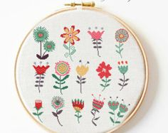 cross stitch pattern flowers retro flowers PDF por Happinesst