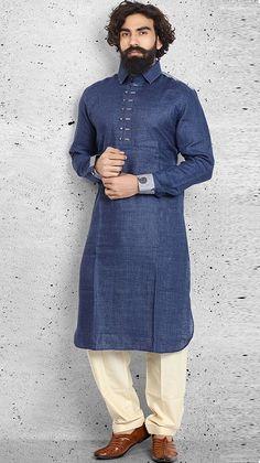 Shop Linen plain navy pathani suit online from India. Pathani Kurta Men, Pathani For Men, Indian Men Fashion, Mens Fashion, Gents Kurta Design, Kurta Design For Men, Mens Shalwar Kameez, Kurta Pajama Men, Mens Suits Online