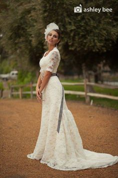 Long laced elbow length sleeved wedding gown by Jaime Elyse Modest Wedding Dresses With Sleeves, Trumpet Gown, Wedding Ideas, Wedding Stuff, Wedding Planning, Dream Wedding, Beautiful Gowns, Dream Dress, Bridal Gowns