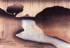 Utagawa Kuniyoshi, Ochanomizu in the Rain. ( Polychrome woodblock print, ink and color on paper ) Japanese Prints, Japanese Art, Art Chinois, Kuniyoshi, Collagraph, Art Japonais, Art Database, World Of Color, Chinese Painting