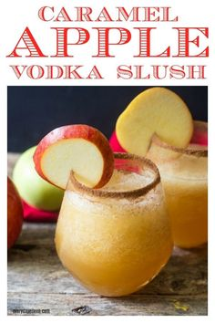 Caramel Apple Vodka Slush Caramel Apple Cider Vodka Slush is the perfect autumn cocktail. A great cocktail to enjoy after a day of pumpkin picking! Perfect for a Thanksgiving brunch too! A low-fat cocktail made with just 2 ingredients and ice! Beste Cocktails, Fall Cocktails, Summer Drinks, Cocktail Drinks, Christmas Cocktails, Fall Drinks Alcohol, Winter Drinks, Vodka Cocktails, Holiday Drinks