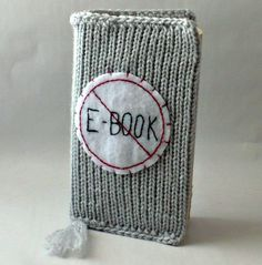 Knitted Paperback Book Cover No Ebook by Nothingbutstring on Etsy, $20.00