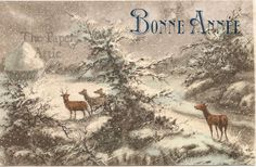 Deer in Forest during Snow Storm Antique Vintage French Xmas New Year Postcard