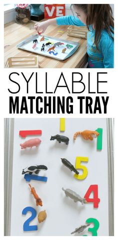 Syllable Matching Tray - Kindergarten Reading Activity - No Time For Flash Cards Syllables Kindergarten, Kindergarten Reading Activities, Counting Activities, Preschool Literacy, Montessori Activities, Language Activities, Early Literacy, Kindergarten Classroom, Activities For Kids