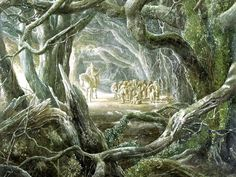 Alan Lee again, this time the image is masterful for its framing of the subjects within the woods.