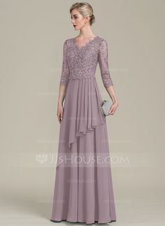 A-Line/Princess V-neck Floor-Length Chiffon Lace Mother of the Bride Dress With Beading Sequins Cascading Ruffles - Mother of the Bride Dresses - JJ's House Hijab Dress Party, Dress Brokat, Bride Gowns, Wedding Party Dresses, The Dress, Special Occasion Dresses, Mother Of The Bride, Designer Dresses, Evening Dresses