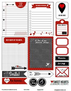 Free printable sweethearts journaling elements and cards for project life and other pocket scrapbooking use. Free for personal use only. Planner Pages, Life Planner, Printable Planner, Planner Stickers, Free Printables, Printable Stickers, Happy Planner, Free Stickers, Printable Cards