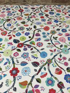 Tablecloth with colorful wild Flowers,  blue pink red green flowers, Scandinavian design by SiKriDream on Etsy