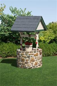 Amish Outdoor Stone Wishing Well with Slate Roof - Jumbo