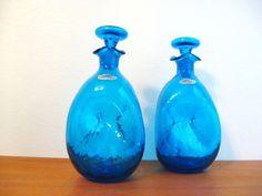 60s Vintage MODERN Pair PEACOCK Blue BLENKO Glass Decanter Bottles. $95.00, via Etsy.