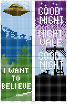 X Files and Welcome to Night Vale Bookmark Embroidery Art, Cross Stitch Embroidery, Embroidery Patterns, Loom Beading, Beading Patterns, Cross Stitch Designs, Cross Stitch Patterns, Pixel Art Grid, Snitches Get Stitches