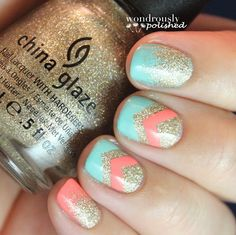 Turquoise, coral & glitter nails by @wondrouslypolished