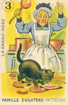 The Pastry Cook - Grandma and her cat | playing card, 1940-50