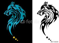 Vector: Wolf Head Tattoo With Stars On Black and white Background