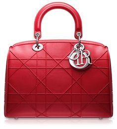 """#DIOR GRANVILLE Small crimson red leather """"Dior Granville"""" polochon bag"""