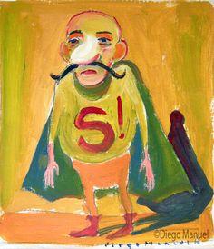 """Super Bondiola"", gouache sobre papel, 24x 18 cm., year 1998"